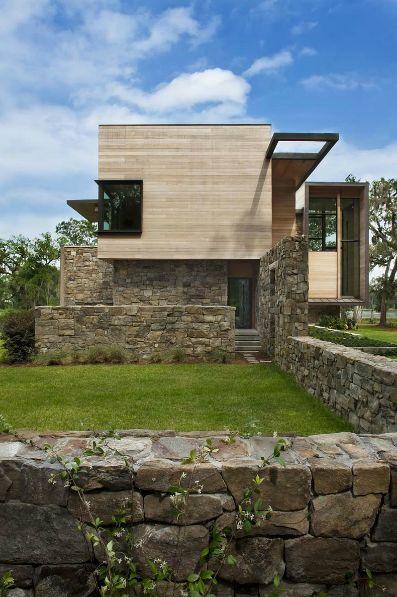 cedar stone house modern facade