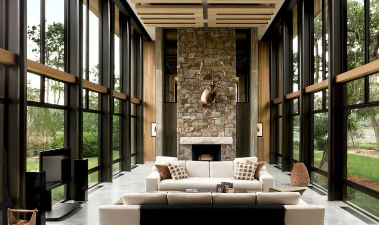 living room south carolina modern stone fireplace