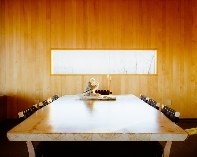 Modern dining room with wooden table and walls