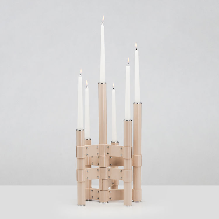 Aluminum candelabra by Annette Hinterworth for Gaia&Gino