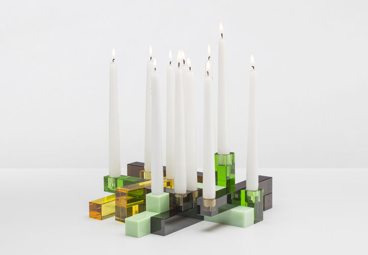 Siluet candelabra in optical glass and marble by PearsonLloyd for Gaia&Gino