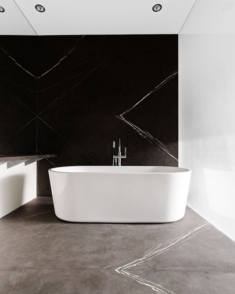 Marble bathroom, tub by Blu Bathworks