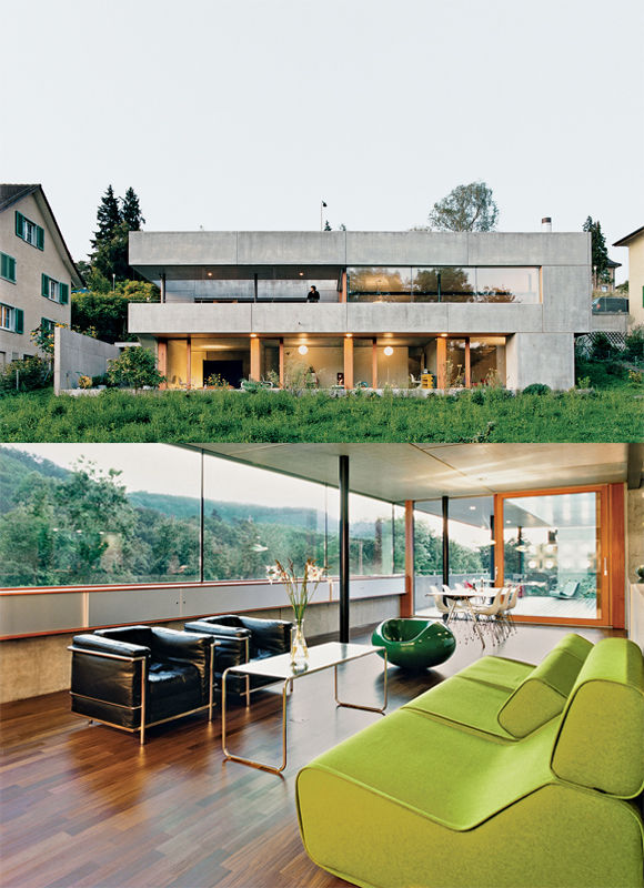 interior and exterior views of Swiss concrete prefab