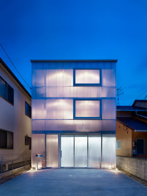 Plastic and steel house in Hiroshima Japan with luminescent facade by Suppose