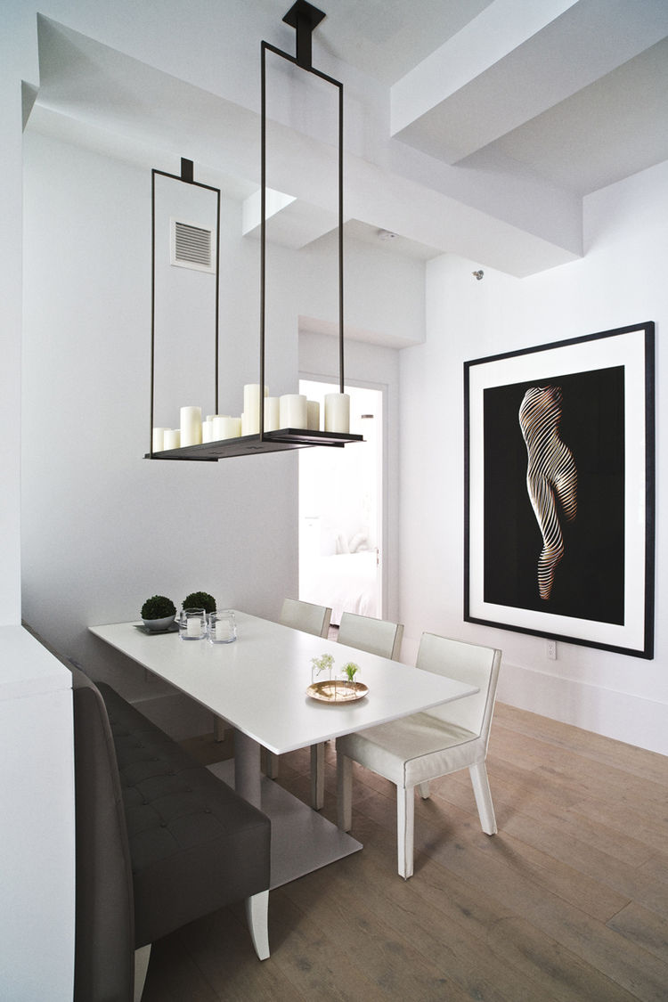 Dining room in model unit at Huys 404 Park Avenue South by Piet Boon