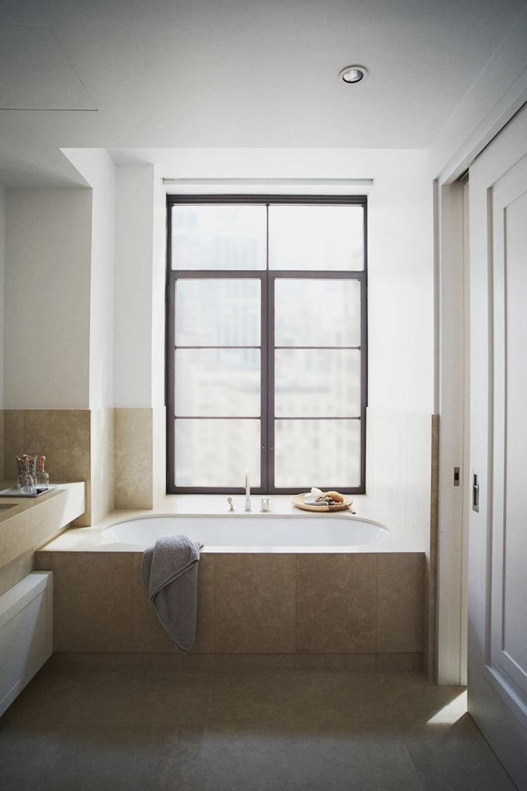 Chambolle stone, Duravit sink, Dornbracht bath fixtures, Kaldewai soaking tub, NuHeat radiant floor heating in bathroom