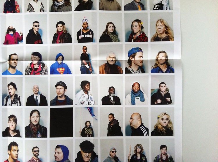 """One section of the promo of the series """"Ninetynine"""" by João Canziani, fold-out,  portrait, Zucotti Park, New York City, 2011 photography promotion marketing"""