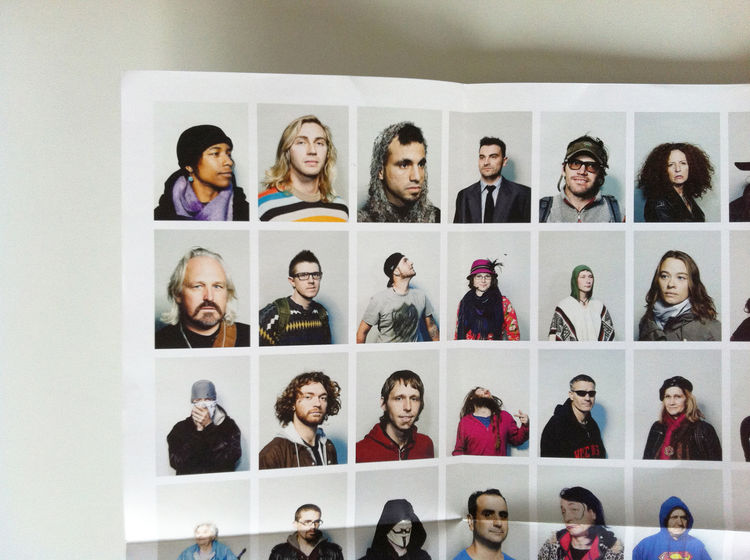 """One corner detail of the promo of the series """"Ninetynine"""" by João Canziani, fold-out,  portrait, Zucotti Park, New York City, 2011 photography promotion marketing"""