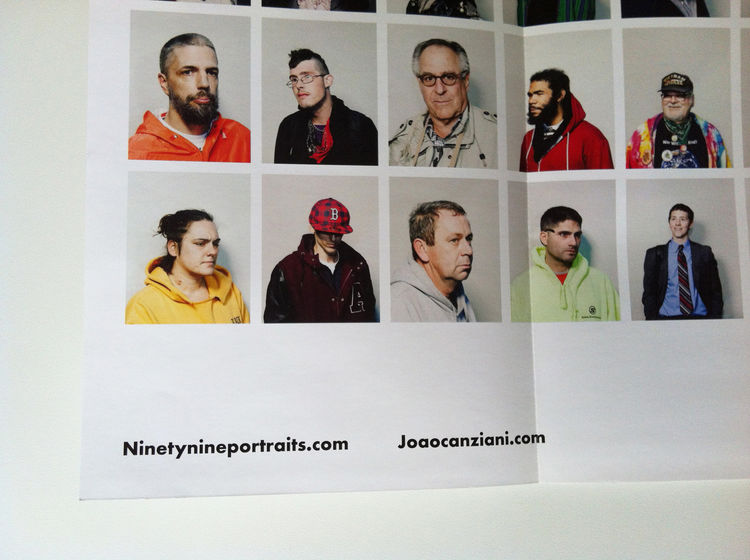 """A detail of the lower right corner of João's promo from of the series """"Ninetynine."""" He has his name and website details listed very subtle on the fold-out. portrait, Zucotti Park, New York City, 2011 photography promotion marketing"""