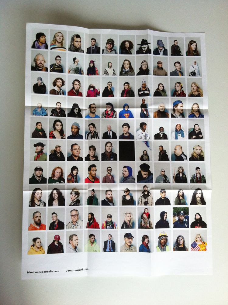 """One side of the promo of the series """"Ninetynine"""" by João Canziani, fold-out,  portrait, Zucotti Park, New York City, 2011 photography promotion marketing"""