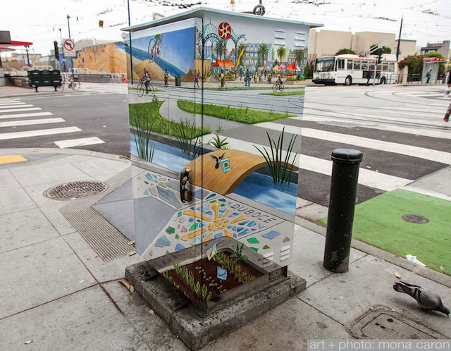 Utility Box Turned Optical Illusion by Mona Caron in San Francisco