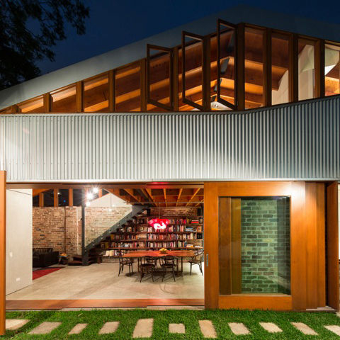 modern house in australia with corrugated metal cladding