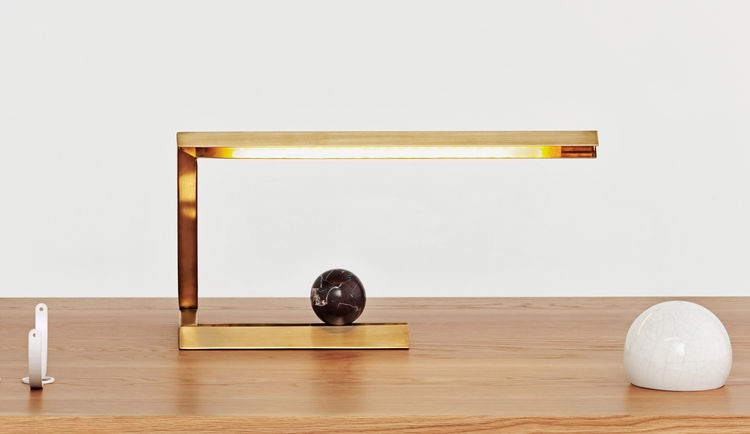 brass table lamp with marble accents