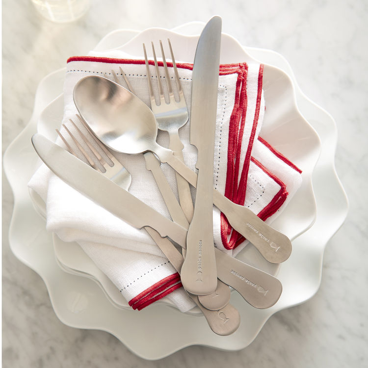 Paola Navone silver flatware cutlery tabletop for Crate & Barrel Mallorca collection