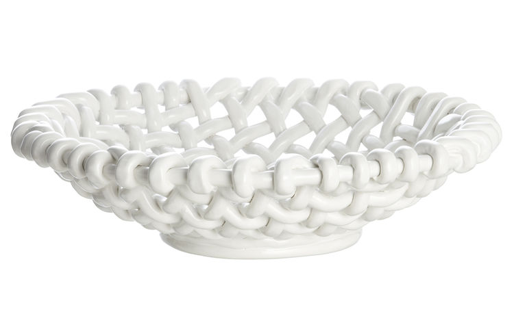 Riviera ceramic woven bowl by Paola Navone Crate & Barrel