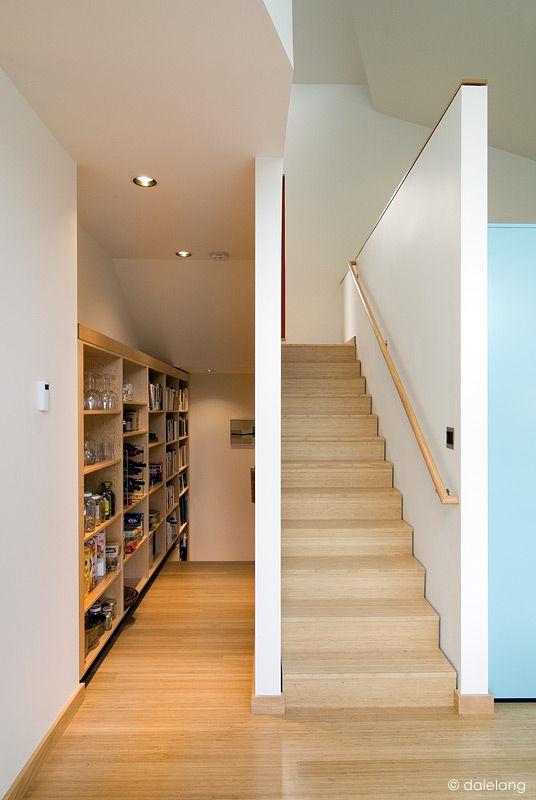 Modern wooden stairwell