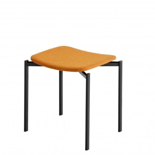 upholstered orange stool by artek