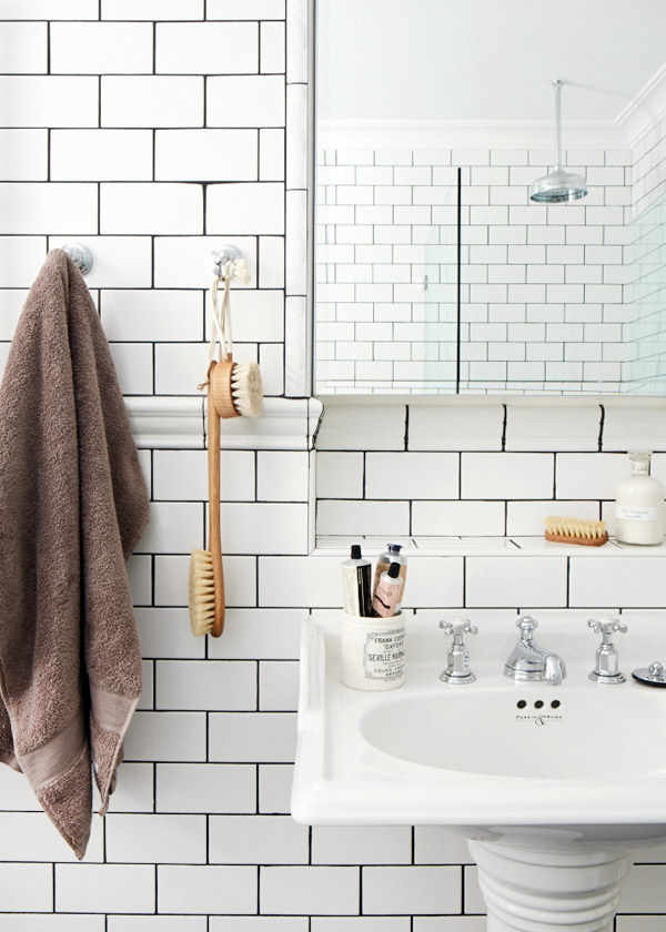 modern bathroom with white subway tile