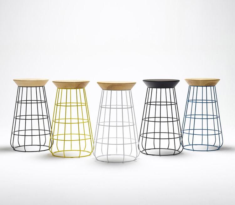 Timothy John Sidekick wireframe stool with wood top