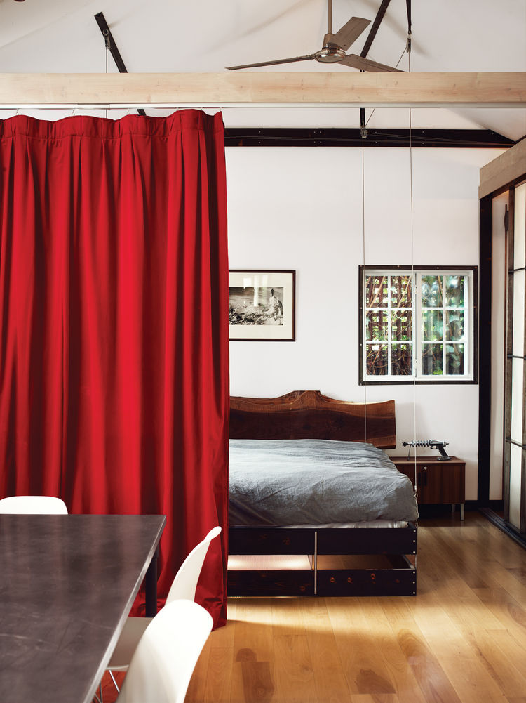 hollywood cabin loft bedroom curtain