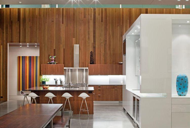 modern kitchen with cedar cabinets