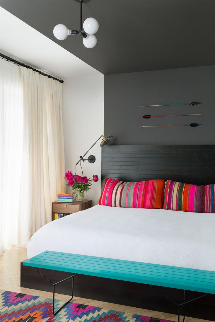 Jessica Helgerson interior design master bedroom Park Slope brownstone color bed lighting