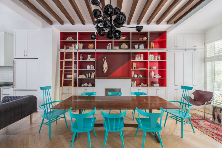 Jessica Helgerson Brooklyn brownstone dining room Benjamin Moore red turquoise paint