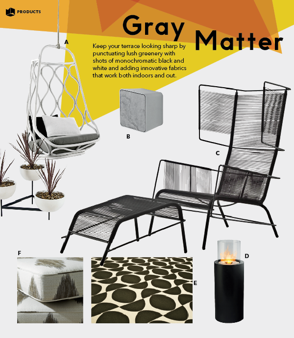Black white gray outdoor furniture lighting products