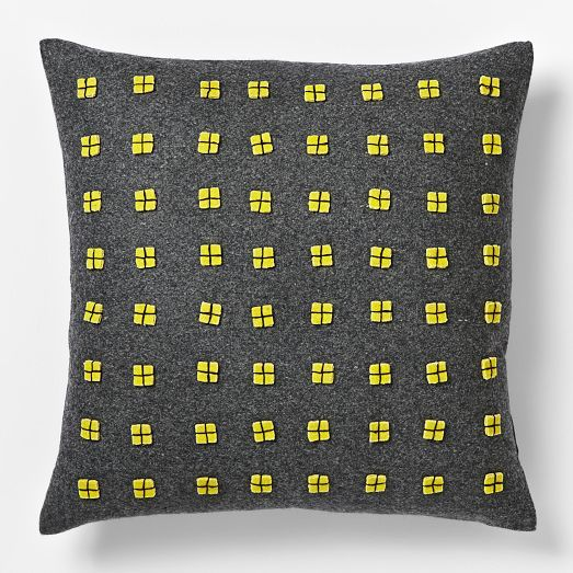 gray pillow with yellow accents fromwest elm