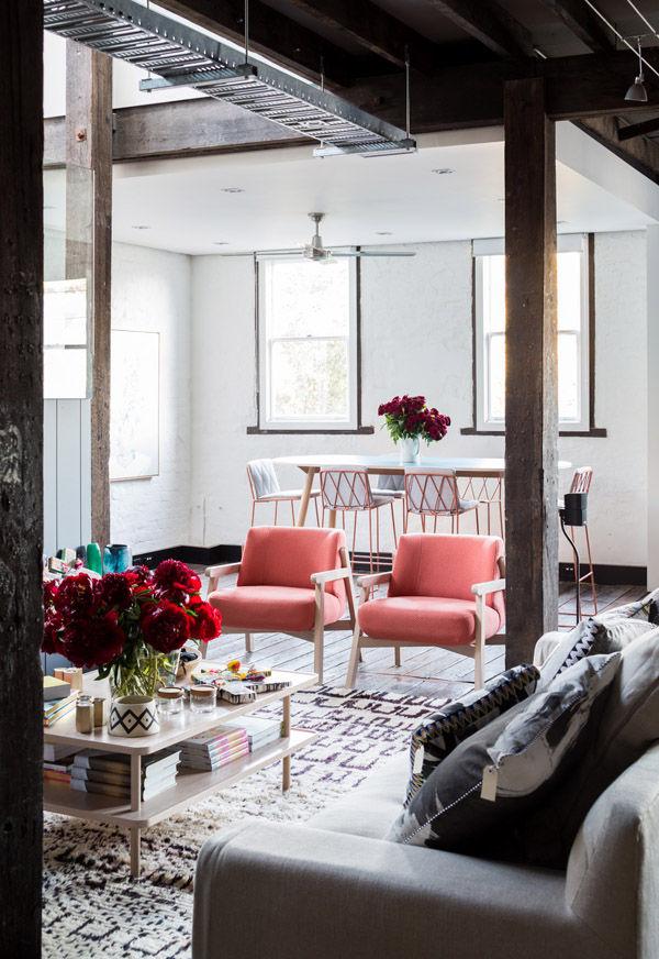 Design Files living room Loom rug flowers interior design