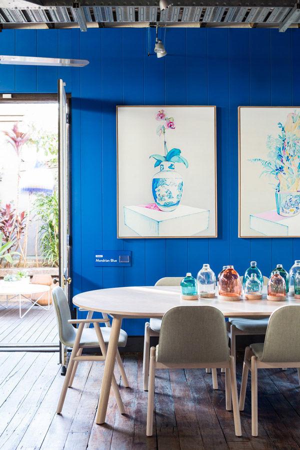 Design Files dining room Jardan furniture paintings blue paint