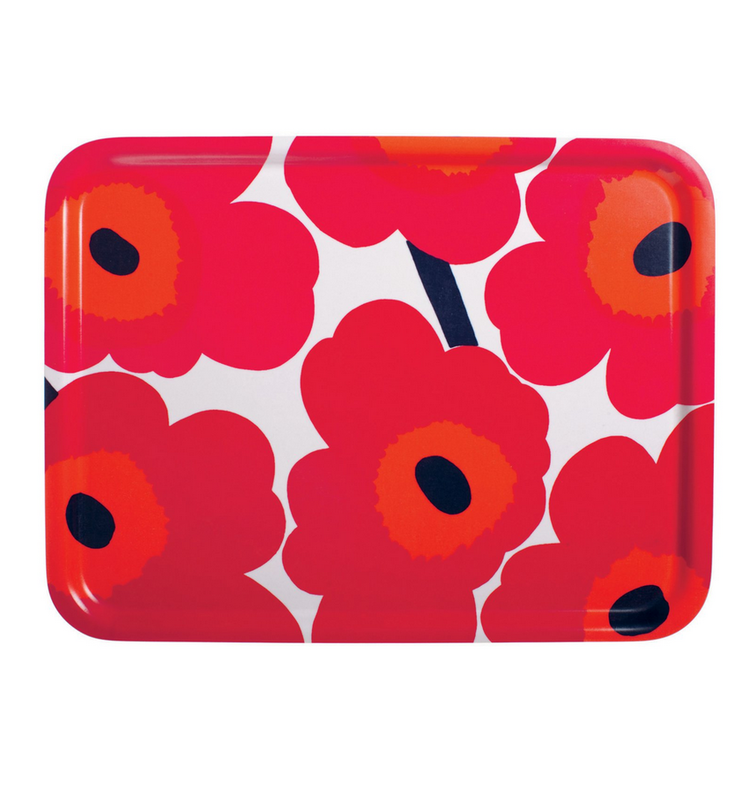 Marimekko Unikko breakfast tray red