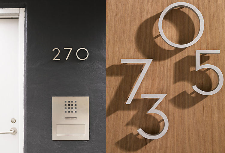Richard Neutra aluminum house numbers DWR exterior house