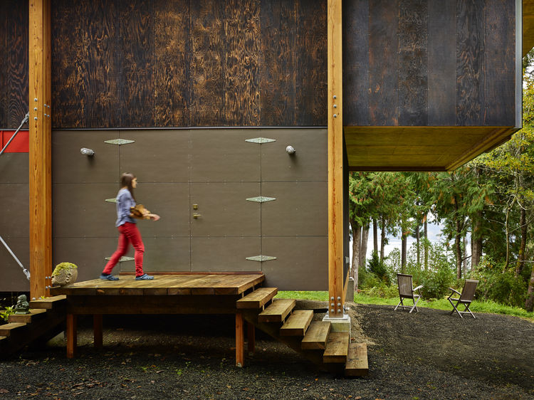 hardiepanel and charred wood exterior on compact cabin