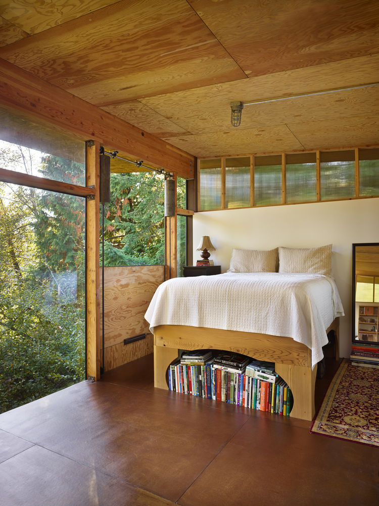bedroom in a modern eco-friendly house
