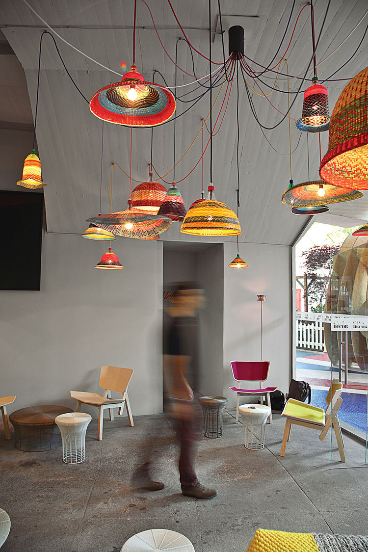 emerging spanish designer crafts textile-like hanging lamps