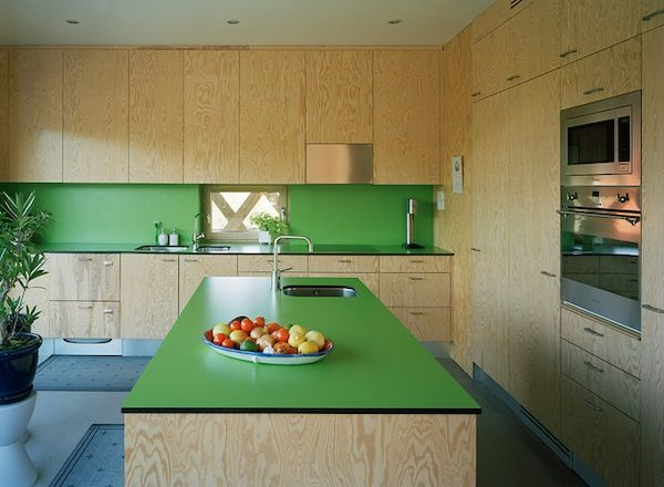 Sweden plywood green laminate kitchen cabinets