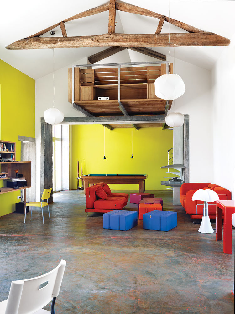 Matali Crasset, yellow, concrete, living room