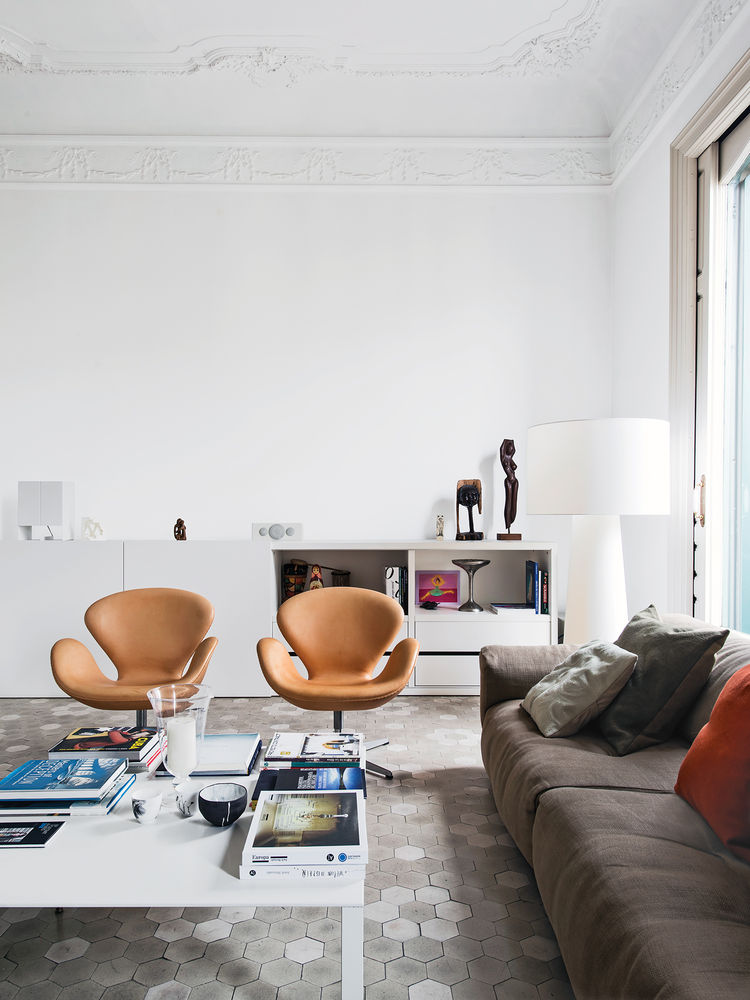 apartment, Barcelona, Spain, tan, chairs, white, tile