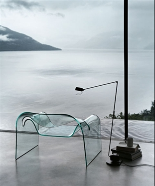 a glass armchair