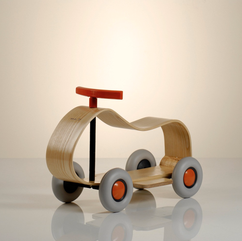 a minimalist wood car for children