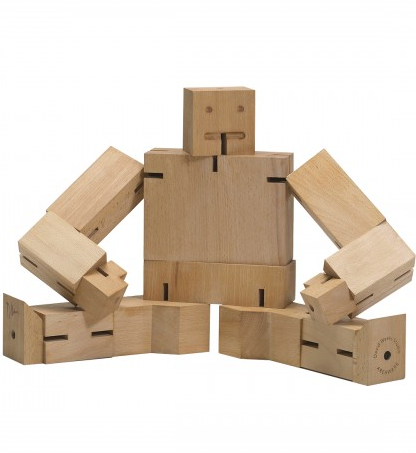 unpainted beech wood robot figure with elastic band ligaments