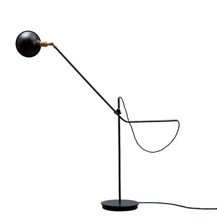 black cast iron, steel, and brass floor lamp