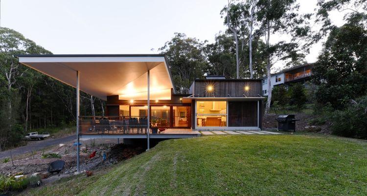 backyard deck over sloped site