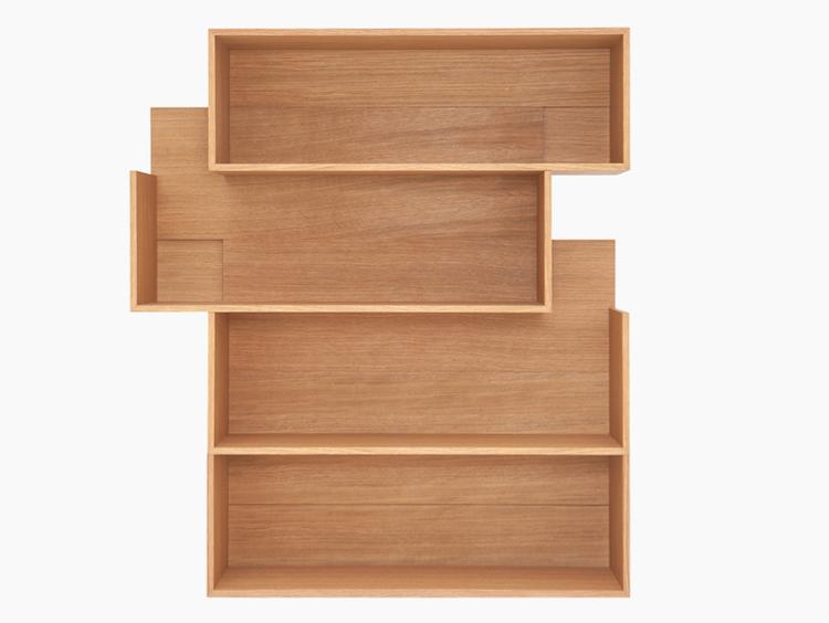 modular oak veneer shelving unit