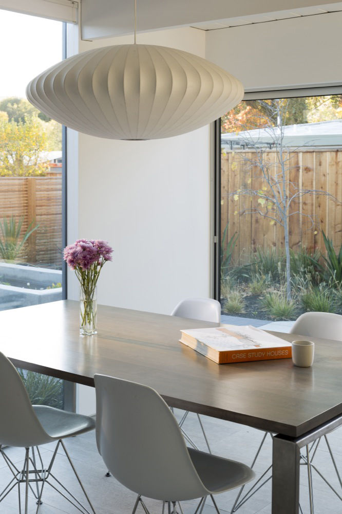 the dining room of a renovated Eichler