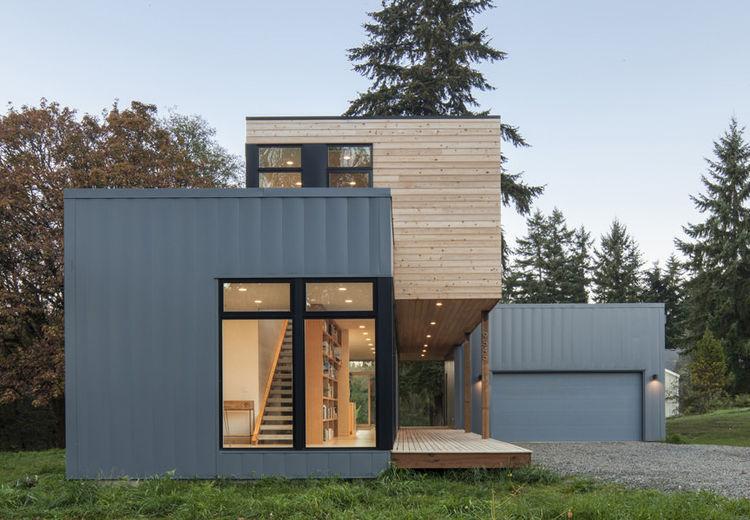 modern cedar-clad prefab house by method homes
