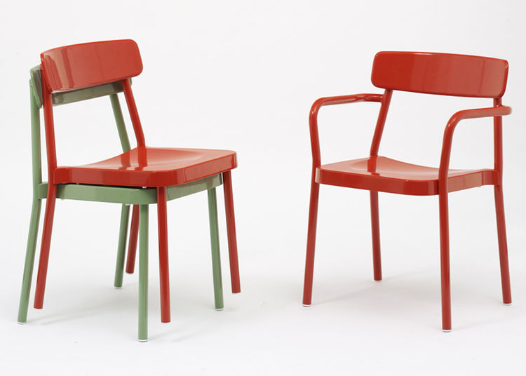 green and red aluminum chairs