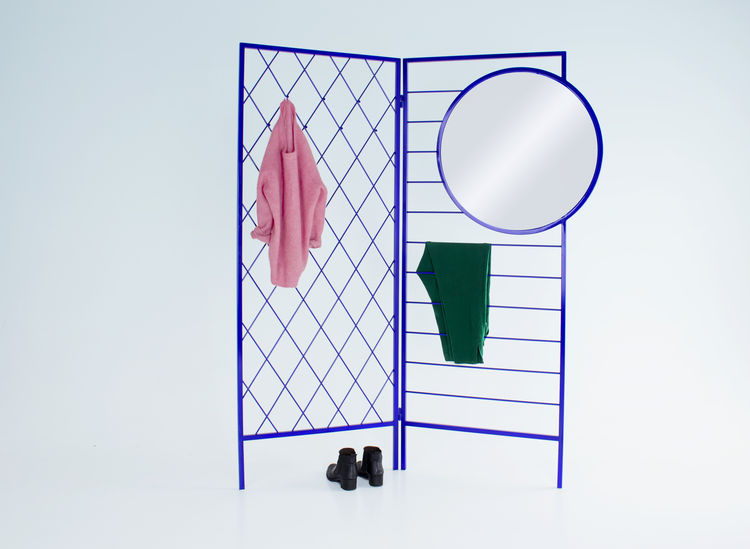 blue steel wardrobe and room divider