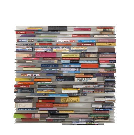 a kraft paper and resin modular bookshelf